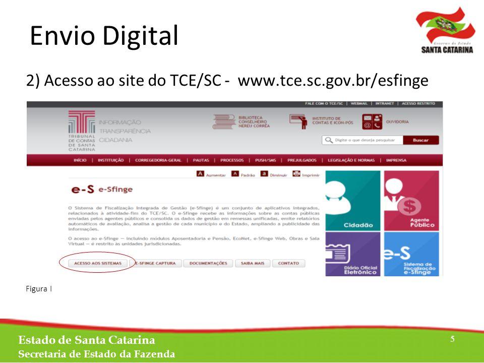 Envio Digital 2) Acesso ao site do TCE/SC - www.tce.sc.gov.br/esfinge Figura I Estado de Santa Catarina Secretaria de Estado da Fazenda 5
