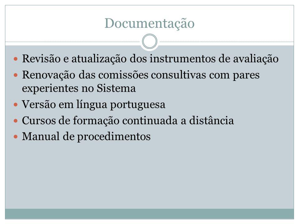 Documentação Revisão e atualização dos instrumentos de avaliação Renovação das comissões consultivas com pares experientes no Sistema Versão em língua portuguesa Cursos de formação continuada a distância Manual de procedimentos