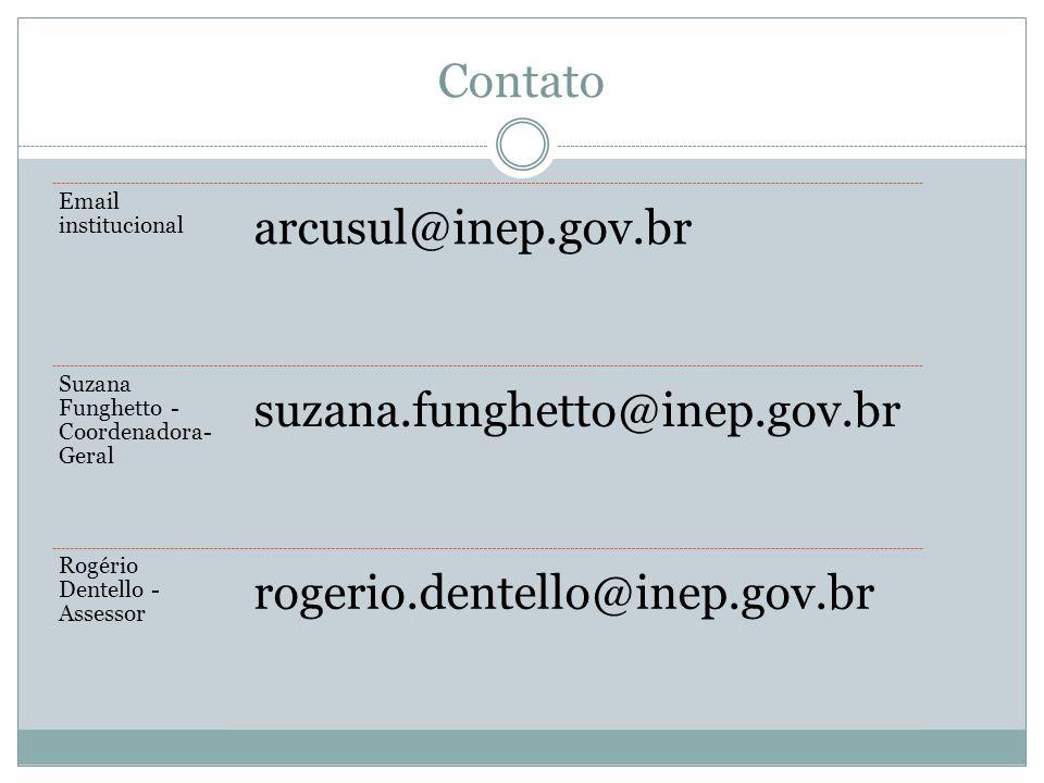 Contato Email institucional arcusul@inep.gov.br Suzana Funghetto - Coordenadora- Geral suzana.funghetto@inep.gov.br Rogério Dentello - Assessor rogerio.dentello@inep.gov.br
