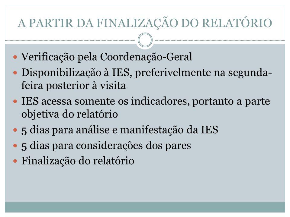 A PARTIR DA FINALIZAÇÃO DO RELATÓRIO Verificação pela Coordenação-Geral Disponibilização à IES, preferivelmente na segunda- feira posterior à visita I