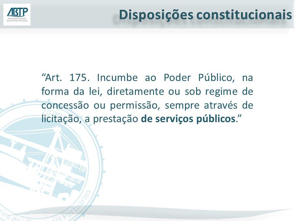 """""""Art. 175. Incumbe ao Poder Público, na forma da lei, diretamente ou sob regime de concessão ou permissão, sempre através de licitação, a prestação de"""