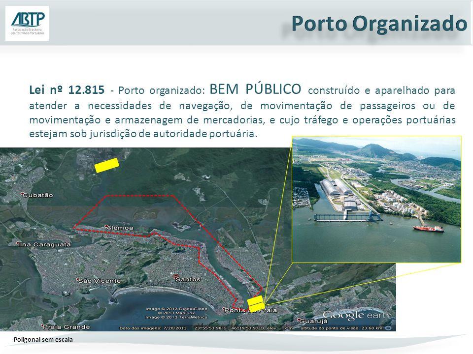 Lei nº 12.815 - Porto organizado: BEM PÚBLICO construído e aparelhado para atender a necessidades de navegação, de movimentação de passageiros ou de movimentação e armazenagem de mercadorias, e cujo tráfego e operações portuárias estejam sob jurisdição de autoridade portuária.