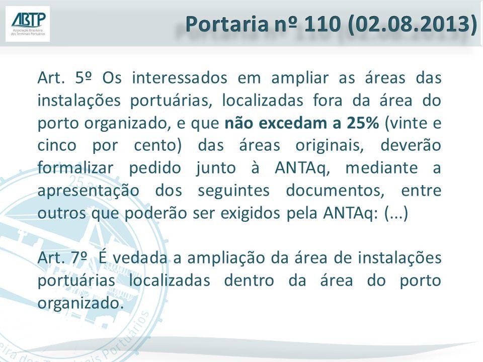 Art. 5º Os interessados em ampliar as áreas das instalações portuárias, localizadas fora da área do porto organizado, e que não excedam a 25% (vinte e