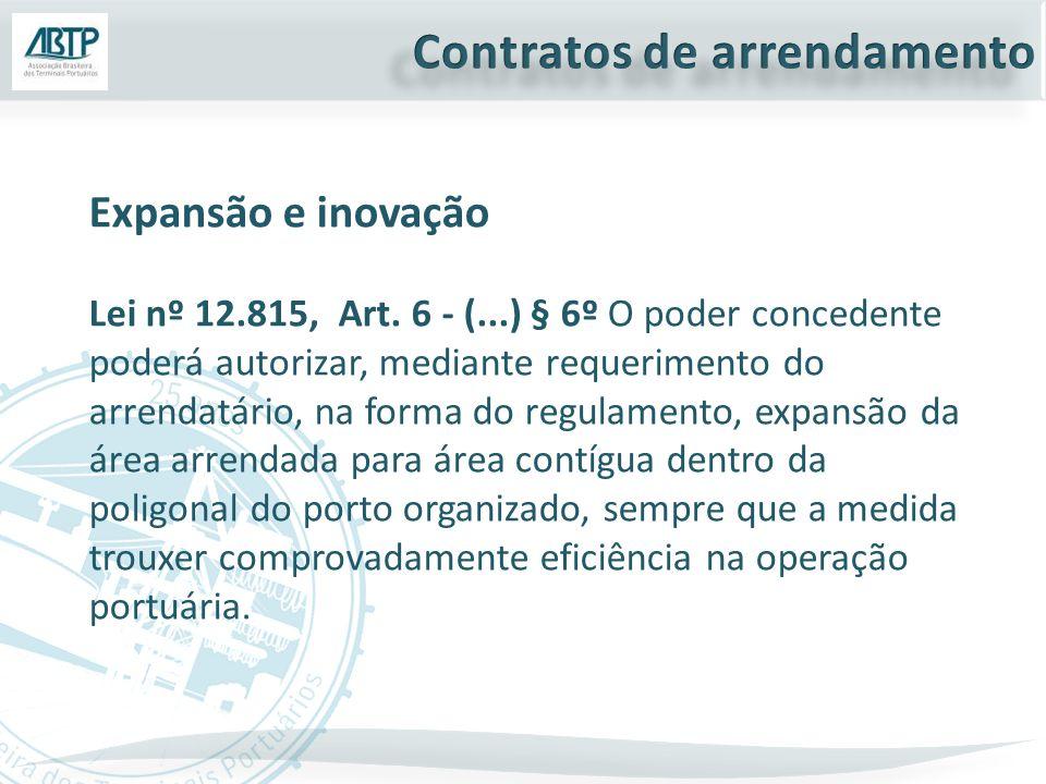 Expansão e inovação Lei nº 12.815, Art. 6 - (...) § 6º O poder concedente poderá autorizar, mediante requerimento do arrendatário, na forma do regulam