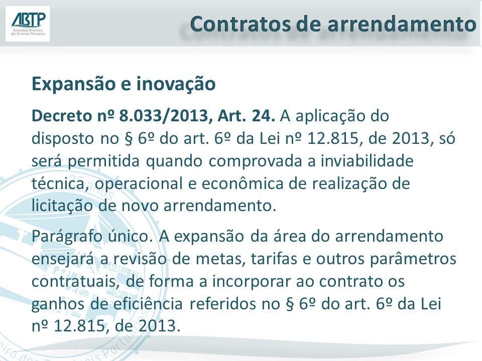 Expansão e inovação Decreto nº 8.033/2013, Art. 24. A aplicação do disposto no § 6º do art. 6º da Lei nº 12.815, de 2013, só será permitida quando com