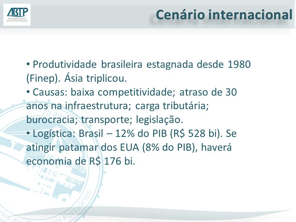 Produtividade brasileira estagnada desde 1980 (Finep).