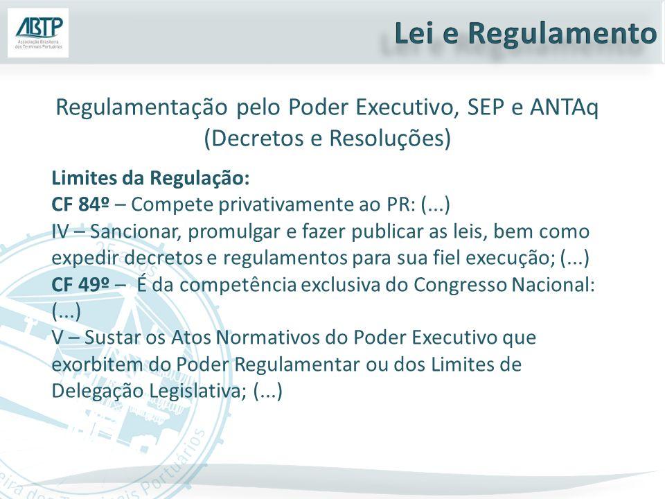 Limites da Regulação: CF 84º – Compete privativamente ao PR: (...) IV – Sancionar, promulgar e fazer publicar as leis, bem como expedir decretos e reg