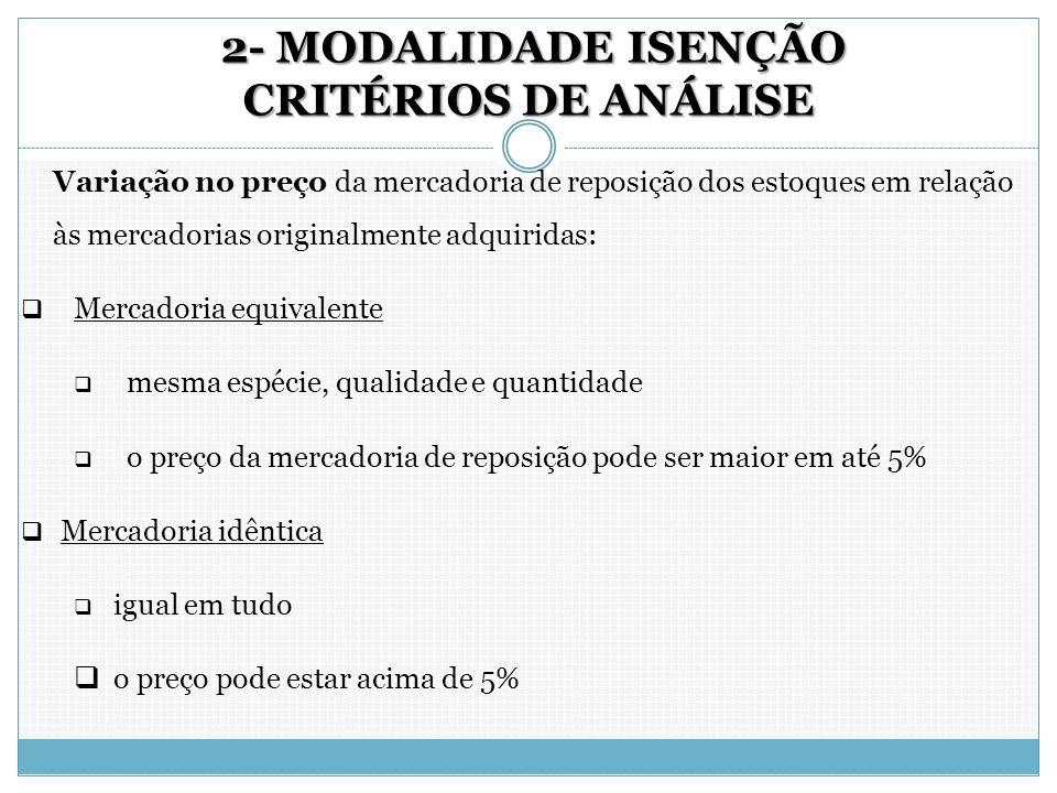 2- MODALIDADE ISENÇÃO CRITÉRIOS DE ANÁLISE 2- MODALIDADE ISENÇÃO CRITÉRIOS DE ANÁLISE Variação no preço da mercadoria de reposição dos estoques em rel