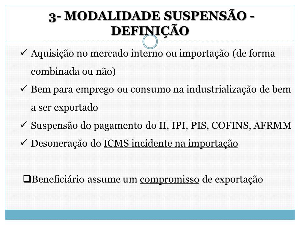 3- MODALIDADE SUSPENSÃO - DEFINIÇÃO 3- MODALIDADE SUSPENSÃO - DEFINIÇÃO Aquisição no mercado interno ou importação (de forma combinada ou não) Bem par