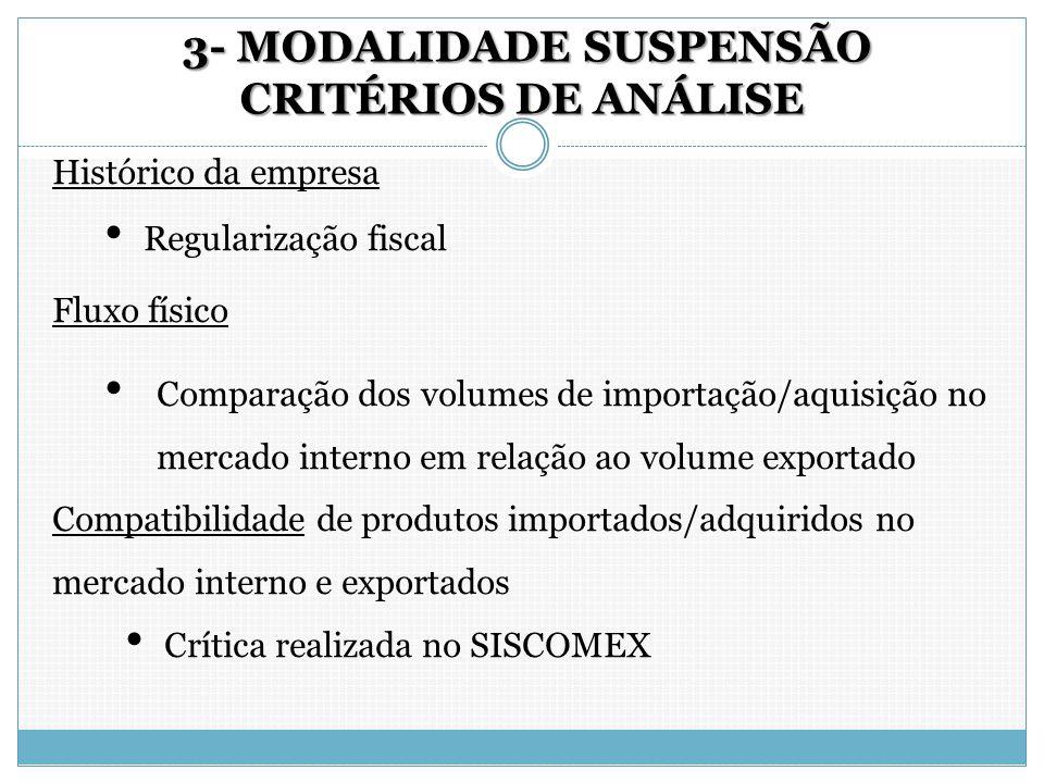 3- MODALIDADE SUSPENSÃO CRITÉRIOS DE ANÁLISE 3- MODALIDADE SUSPENSÃO CRITÉRIOS DE ANÁLISE Histórico da empresa Regularização fiscal Fluxo físico Compa