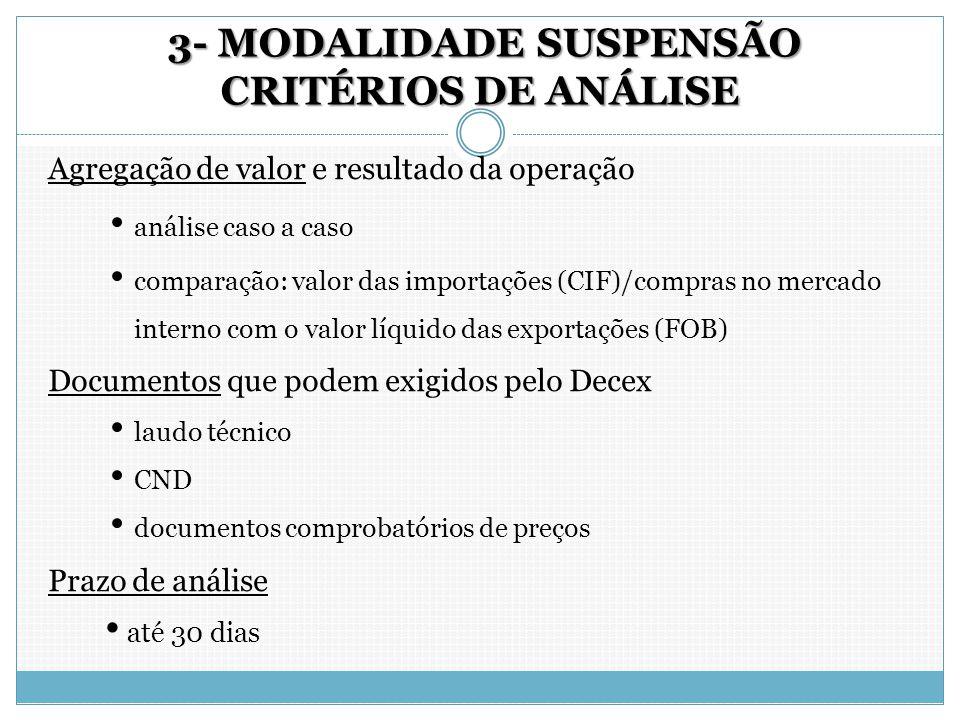 3- MODALIDADE SUSPENSÃO CRITÉRIOS DE ANÁLISE 3- MODALIDADE SUSPENSÃO CRITÉRIOS DE ANÁLISE Agregação de valor e resultado da operação análise caso a ca
