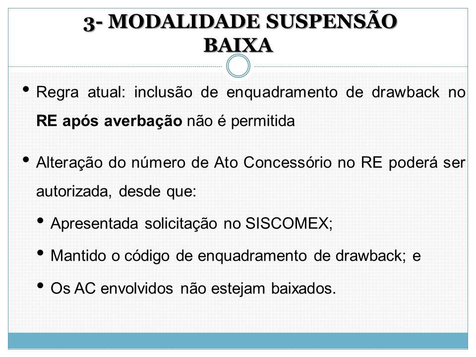 3- MODALIDADE SUSPENSÃO BAIXA 3- MODALIDADE SUSPENSÃO BAIXA Regra atual: inclusão de enquadramento de drawback no RE após averbação não é permitida Al