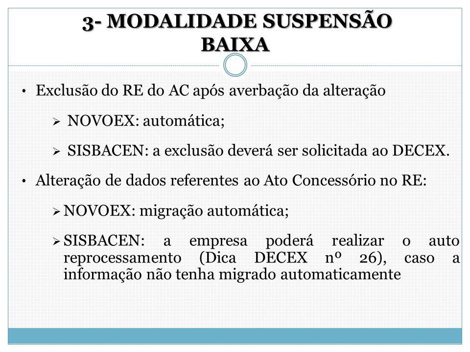 3- MODALIDADE SUSPENSÃO BAIXA 3- MODALIDADE SUSPENSÃO BAIXA Exclusão do RE do AC após averbação da alteração  NOVOEX: automática;  SISBACEN: a exclu