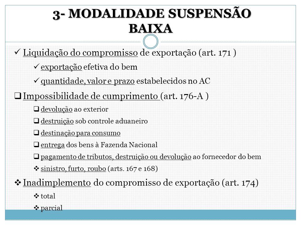 3- MODALIDADE SUSPENSÃO BAIXA 3- MODALIDADE SUSPENSÃO BAIXA Liquidação do compromisso de exportação (art. 171 ) exportação efetiva do bem quantidade,