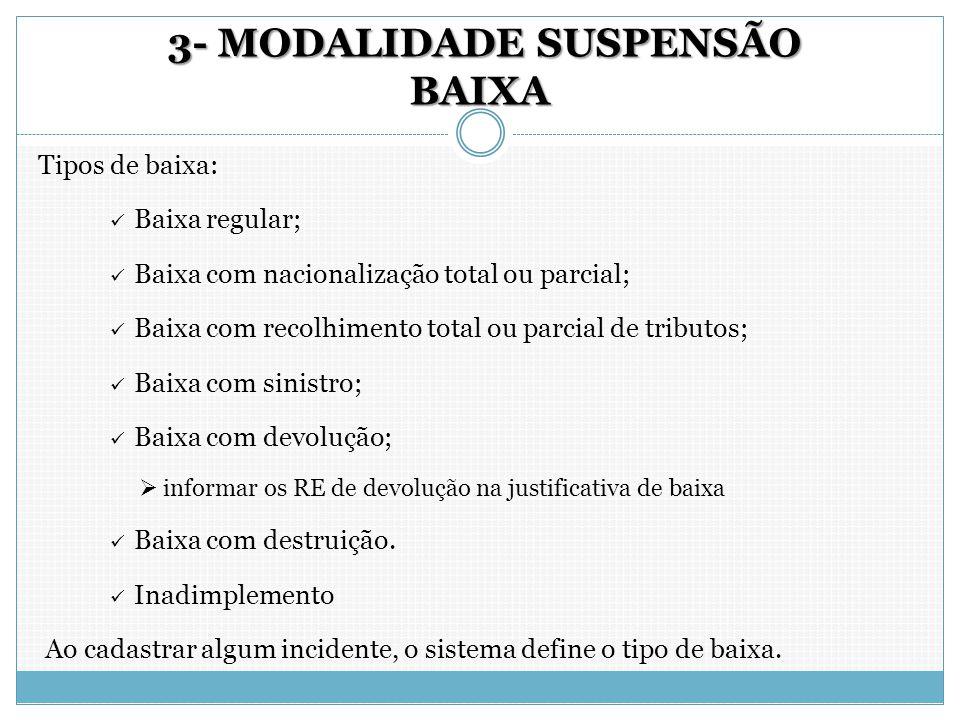 3- MODALIDADE SUSPENSÃO BAIXA 3- MODALIDADE SUSPENSÃO BAIXA Tipos de baixa: Baixa regular; Baixa com nacionalização total ou parcial; Baixa com recolh