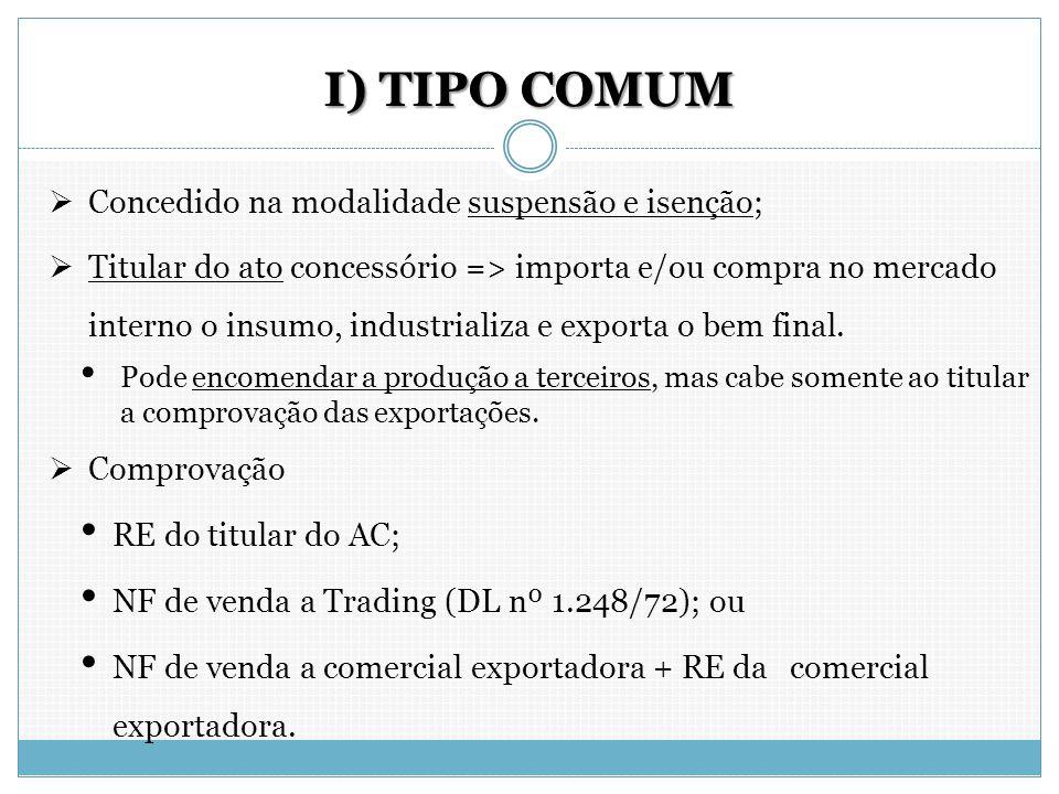 I) TIPO COMUM  Concedido na modalidade suspensão e isenção;  Titular do ato concessório => importa e/ou compra no mercado interno o insumo, industri