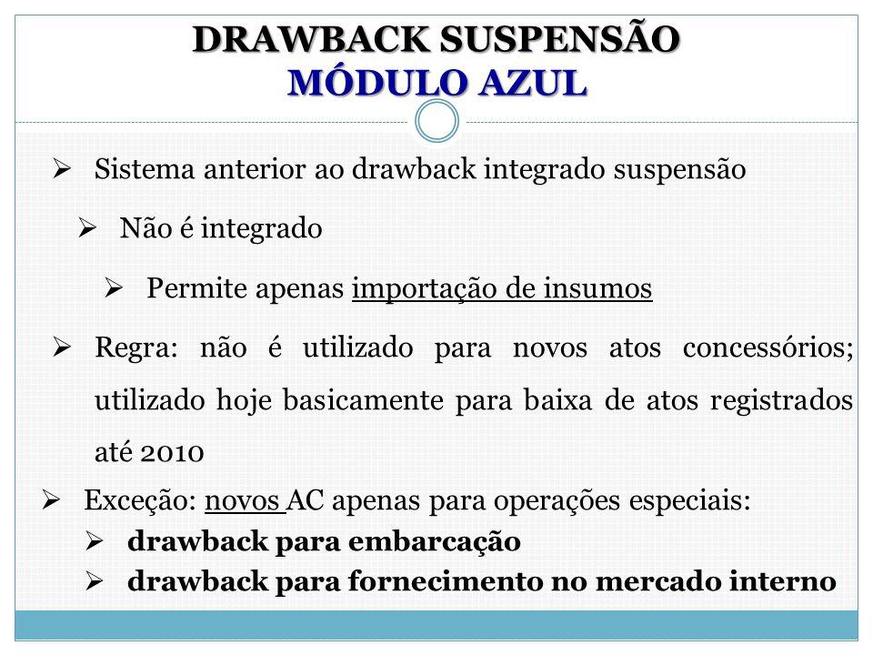 DRAWBACK SUSPENSÃO MÓDULO AZUL  Sistema anterior ao drawback integrado suspensão  Não é integrado  Permite apenas importação de insumos  Regra: nã