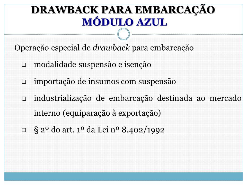 DRAWBACK PARA EMBARCAÇÃO MÓDULO AZUL Operação especial de drawback para embarcação  modalidade suspensão e isenção  importação de insumos com suspen