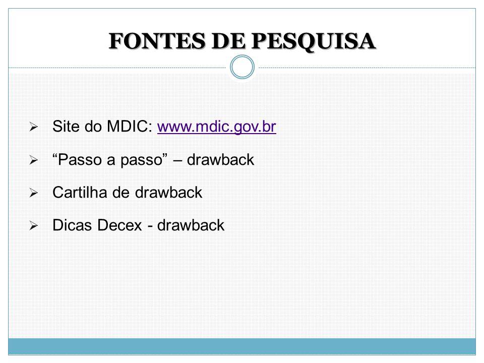 """FONTES DE PESQUISA  Site do MDIC: www.mdic.gov.brwww.mdic.gov.br  """"Passo a passo"""" – drawback  Cartilha de drawback  Dicas Decex - drawback"""