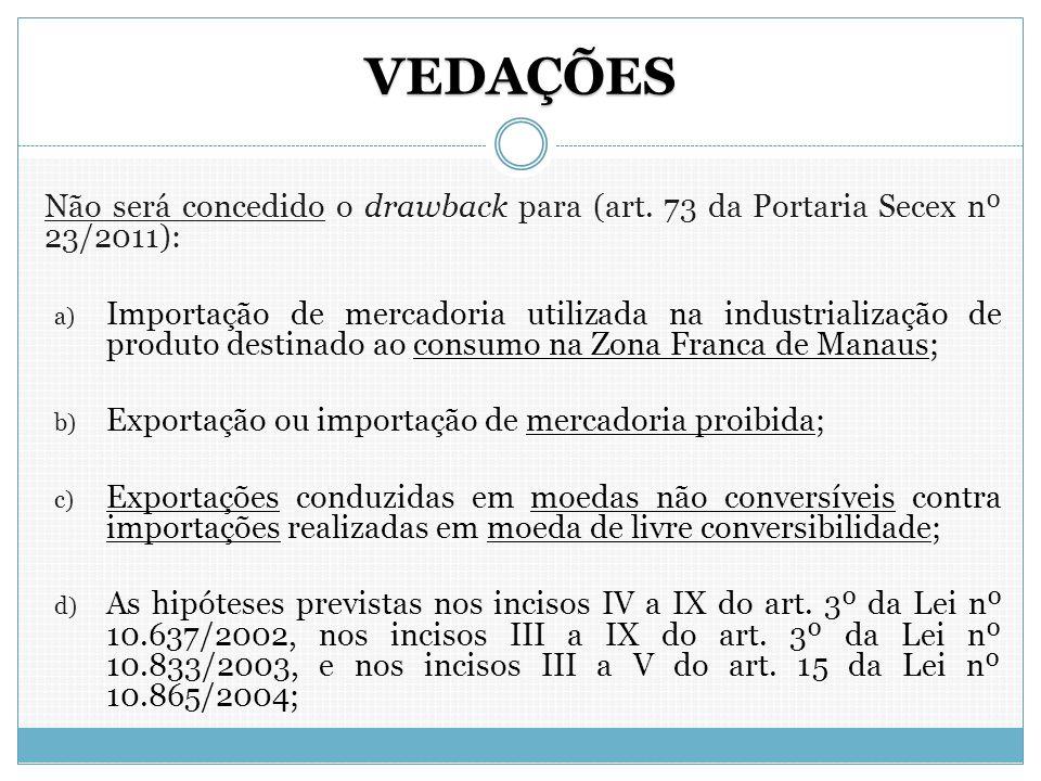 VEDAÇÕES Não será concedido o drawback para (art. 73 da Portaria Secex nº 23/2011): a) Importação de mercadoria utilizada na industrialização de produ
