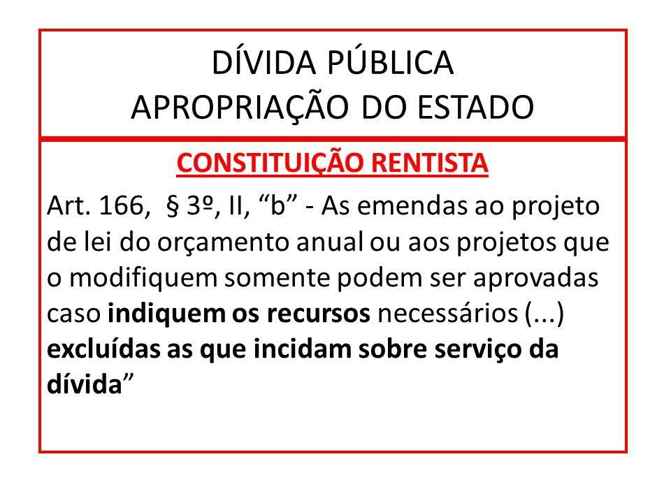 DÍVIDA PÚBLICA APROPRIAÇÃO DO ESTADO CONSTITUIÇÃO RENTISTA Art.