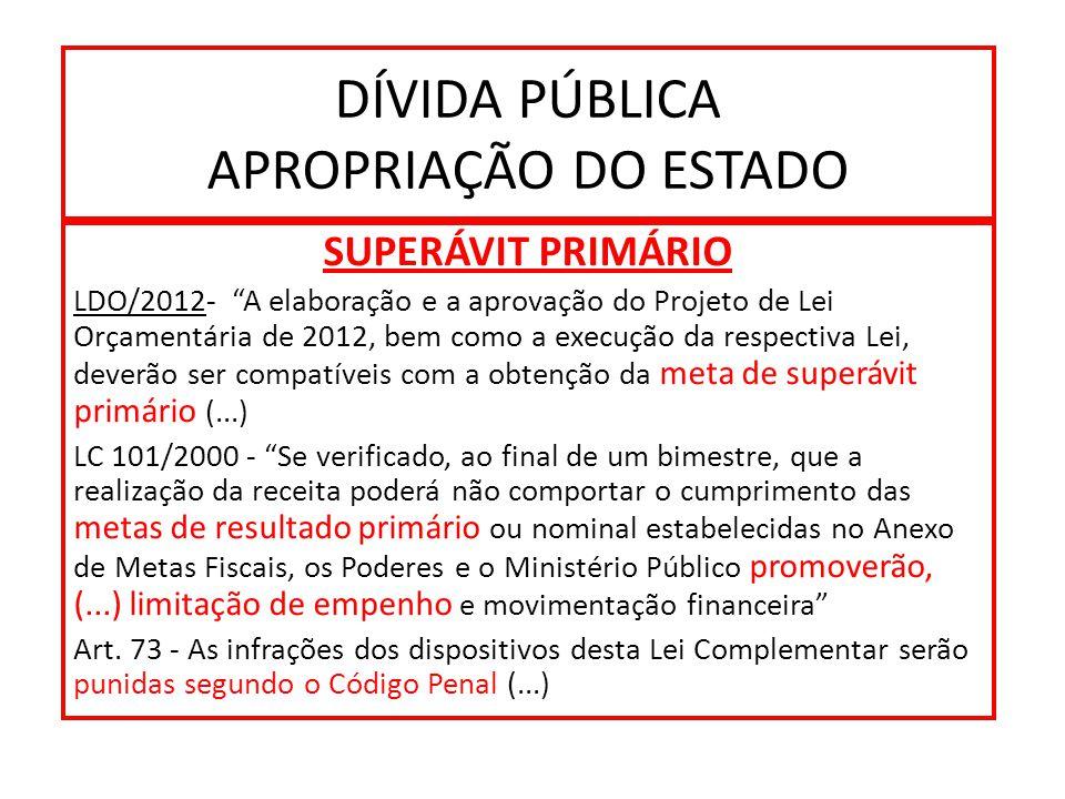 DÍVIDA PÚBLICA APROPRIAÇÃO DO ESTADO SUPERÁVIT PRIMÁRIO LDO/2012- A elaboração e a aprovação do Projeto de Lei Orçamentária de 2012, bem como a execução da respectiva Lei, deverão ser compatíveis com a obtenção da meta de superávit primário (...) LC 101/2000 - Se verificado, ao final de um bimestre, que a realização da receita poderá não comportar o cumprimento das metas de resultado primário ou nominal estabelecidas no Anexo de Metas Fiscais, os Poderes e o Ministério Público promoverão, (...) limitação de empenho e movimentação financeira Art.