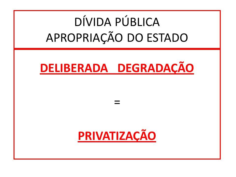DÍVIDA PÚBLICA APROPRIAÇÃO DO ESTADO DELIBERADA DEGRADAÇÃO = PRIVATIZAÇÃO