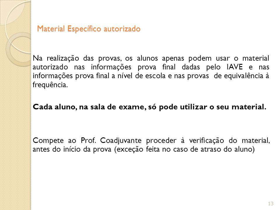 Material Específico autorizado Na realização das provas, os alunos apenas podem usar o material autorizado nas informações prova final dadas pelo IAVE