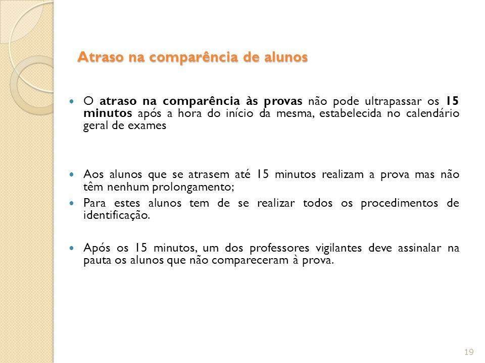 Atraso na comparência de alunos O atraso na comparência às provas não pode ultrapassar os 15 minutos após a hora do início da mesma, estabelecida no c