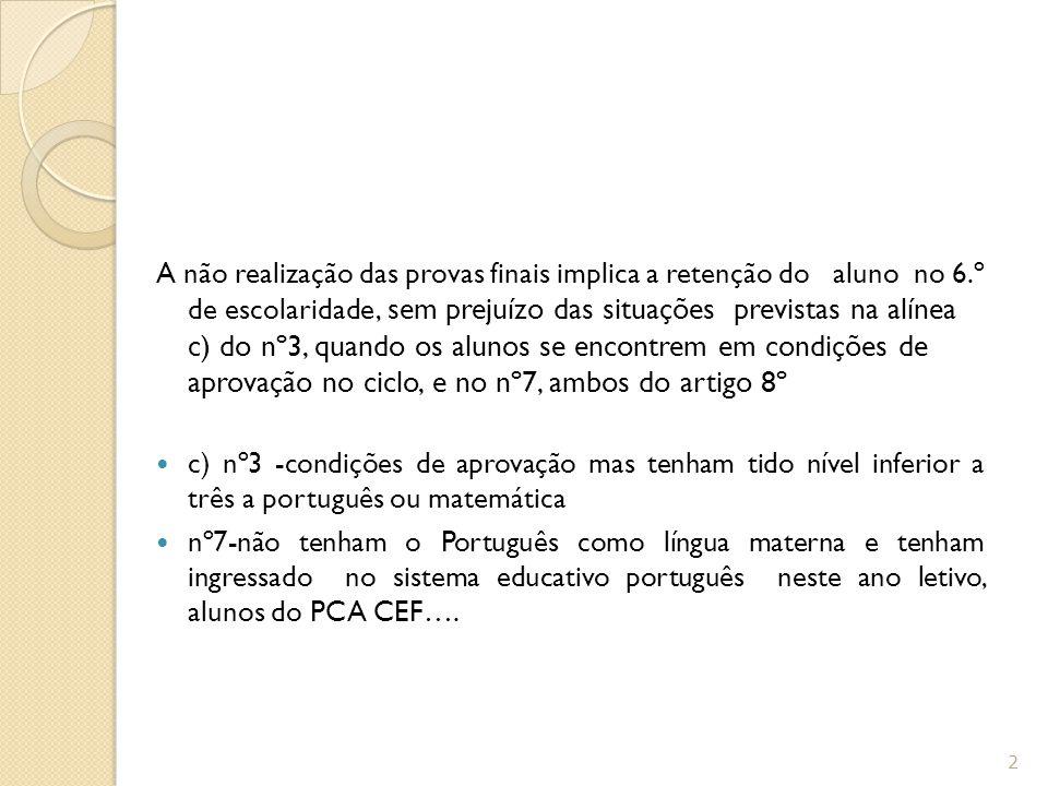 Classificação final 6º ano Classificação final é atribuída na escala de 1 a 5, calculada de acordo com a seguinte fórmula, arredondada às unidades: CF = (7 Cf + 3Cp)/10 em que: CF = classificação final; Cf = classificação de frequência no final do 3.º período; Cp = classificação da prova final.