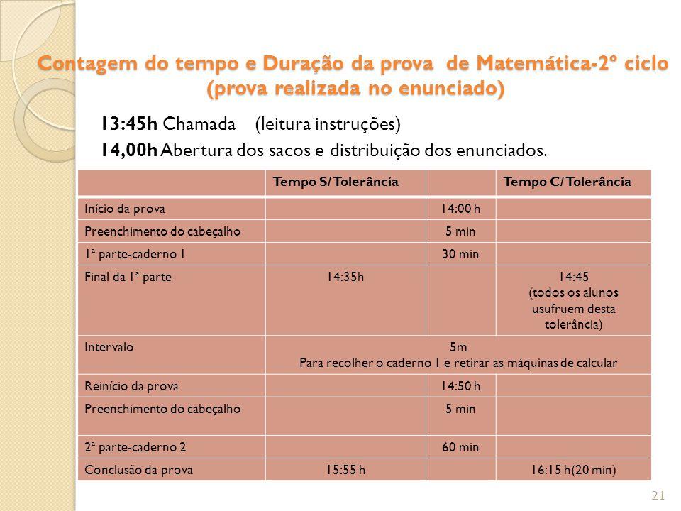 Contagem do tempo e Duração da prova de Matemática-2º ciclo (prova realizada no enunciado) 13:45h Chamada (leitura instruções) 14,00h Abertura dos sac