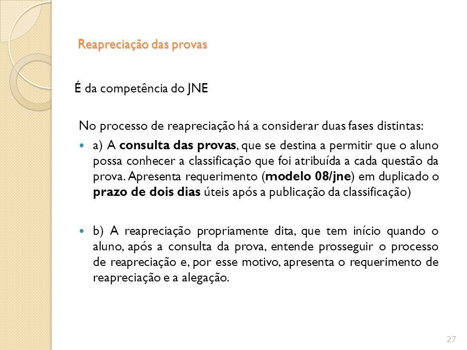 Reapreciação das provas É da competência do JNE No processo de reapreciação há a considerar duas fases distintas: a) A consulta das provas, que se des
