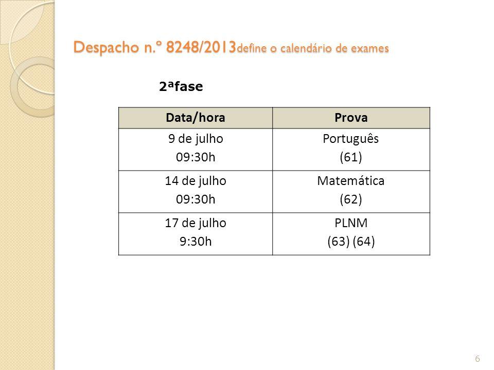 Despacho n.º 8248/2013 define o calendário de exames 6 Data/horaProva 9 de julho 09:30h Português (61) 14 de julho 09:30h Matemática (62) 17 de julho