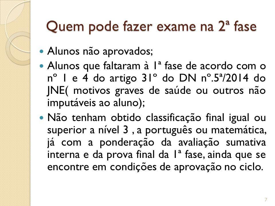 Quem pode fazer exame na 2ª fase Alunos não aprovados; Alunos que faltaram à 1ª fase de acordo com o nº 1 e 4 do artigo 31º do DN nº.5ª/2014 do JNE( m