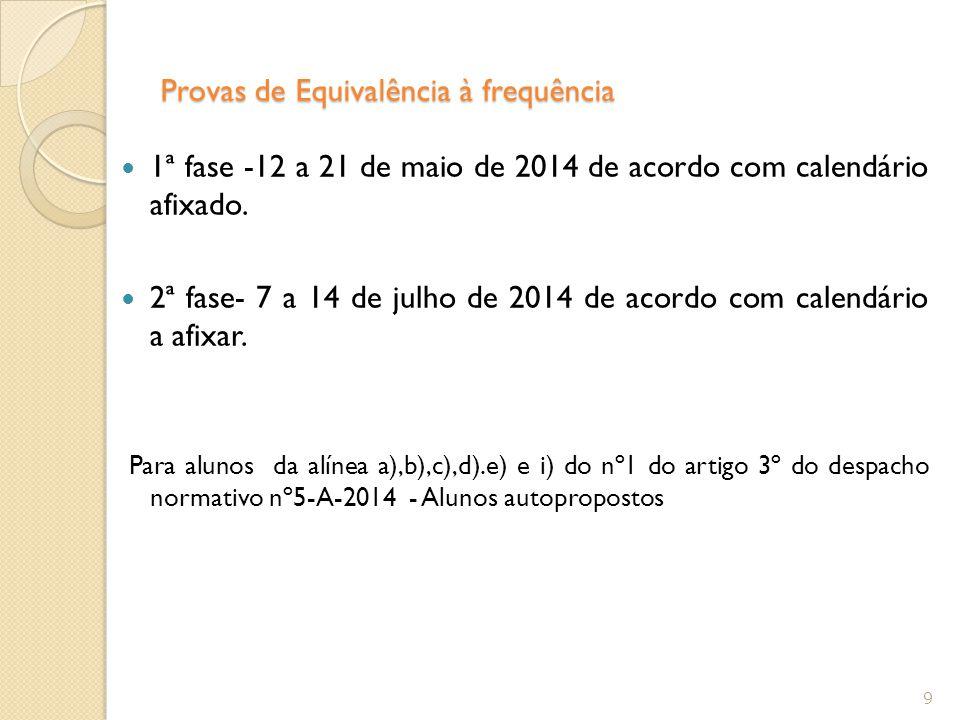 Provas de Equivalência à frequência 1ª fase -12 a 21 de maio de 2014 de acordo com calendário afixado. 2ª fase- 7 a 14 de julho de 2014 de acordo com
