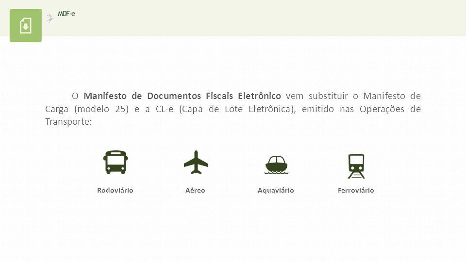 O Manifesto de Documentos Fiscais Eletrônico vem substituir o Manifesto de Carga (modelo 25) e a CL-e (Capa de Lote Eletrônica), emitido nas Operações