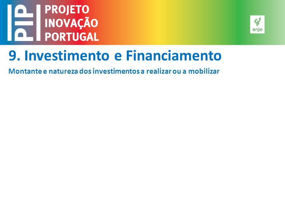 9. Investimento e Financiamento Montante e natureza dos investimentos a realizar ou a mobilizar