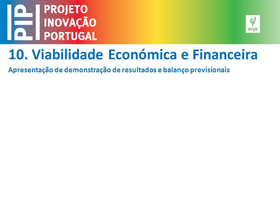10. Viabilidade Económica e Financeira Apresentação de demonstração de resultados e balanço previsionais