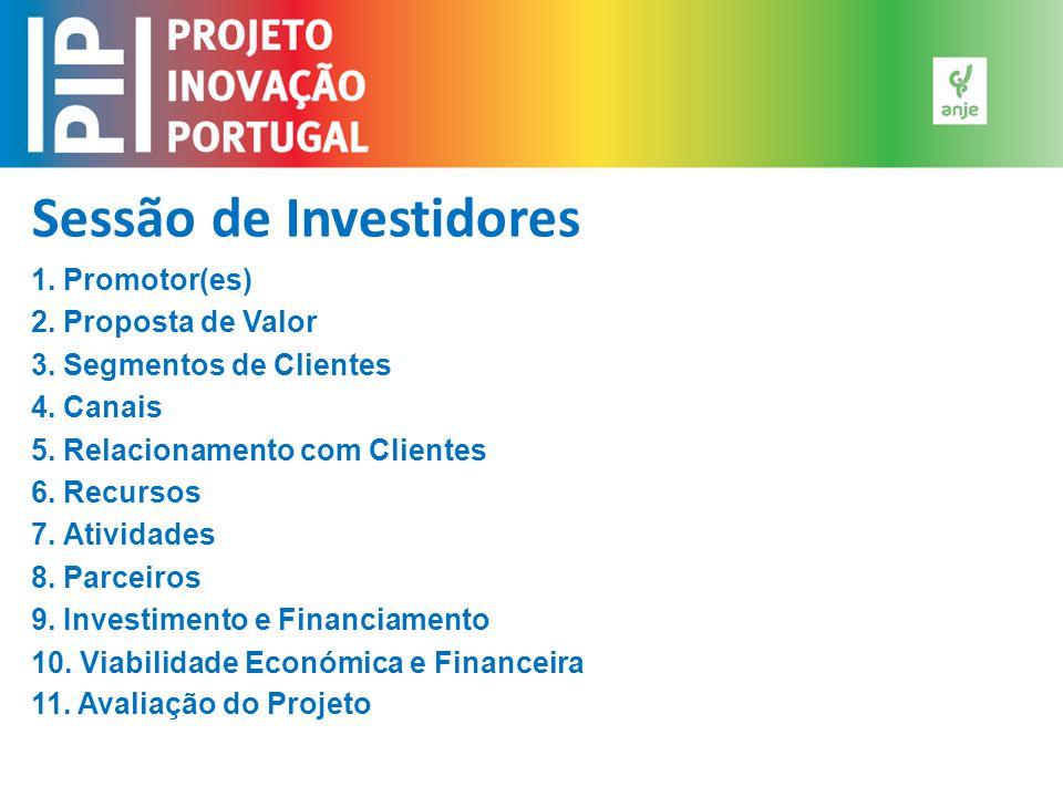 Sessão de Investidores 1. Promotor(es) 2. Proposta de Valor 3. Segmentos de Clientes 4. Canais 5. Relacionamento com Clientes 6. Recursos 7. Atividade