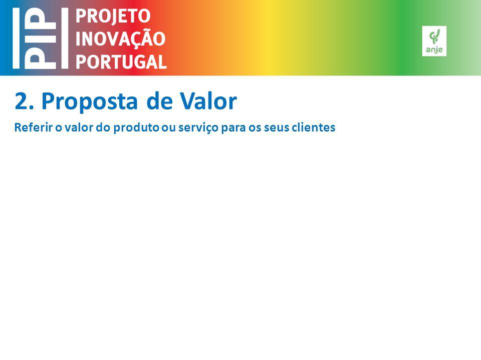 2. Proposta de Valor Referir o valor do produto ou serviço para os seus clientes