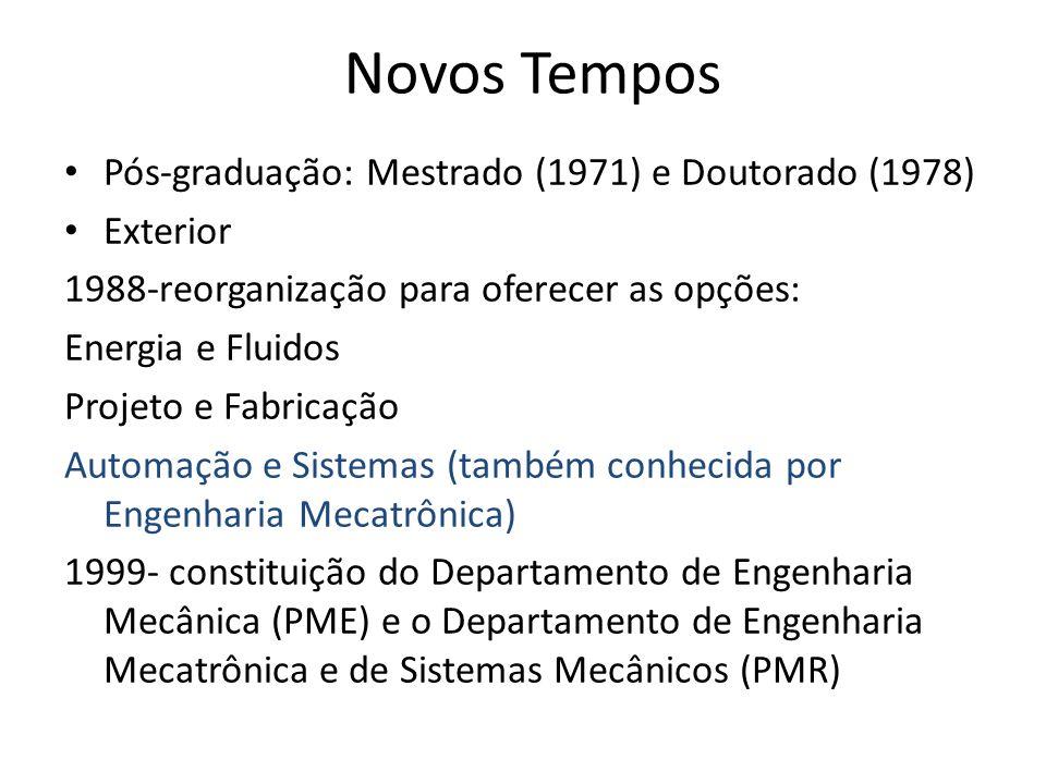 Novos Tempos Pós-graduação: Mestrado (1971) e Doutorado (1978) Exterior 1988-reorganização para oferecer as opções: Energia e Fluidos Projeto e Fabricação Automação e Sistemas (também conhecida por Engenharia Mecatrônica) 1999- constituição do Departamento de Engenharia Mecânica (PME) e o Departamento de Engenharia Mecatrônica e de Sistemas Mecânicos (PMR)