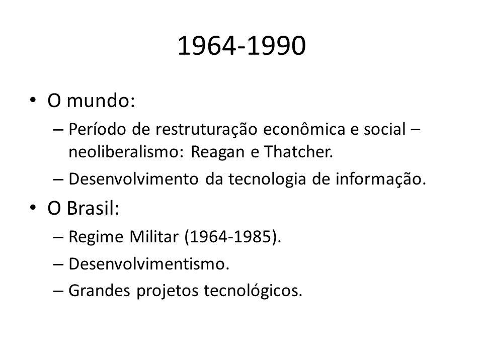 1964-1990 O mundo: – Período de restruturação econômica e social – neoliberalismo: Reagan e Thatcher.