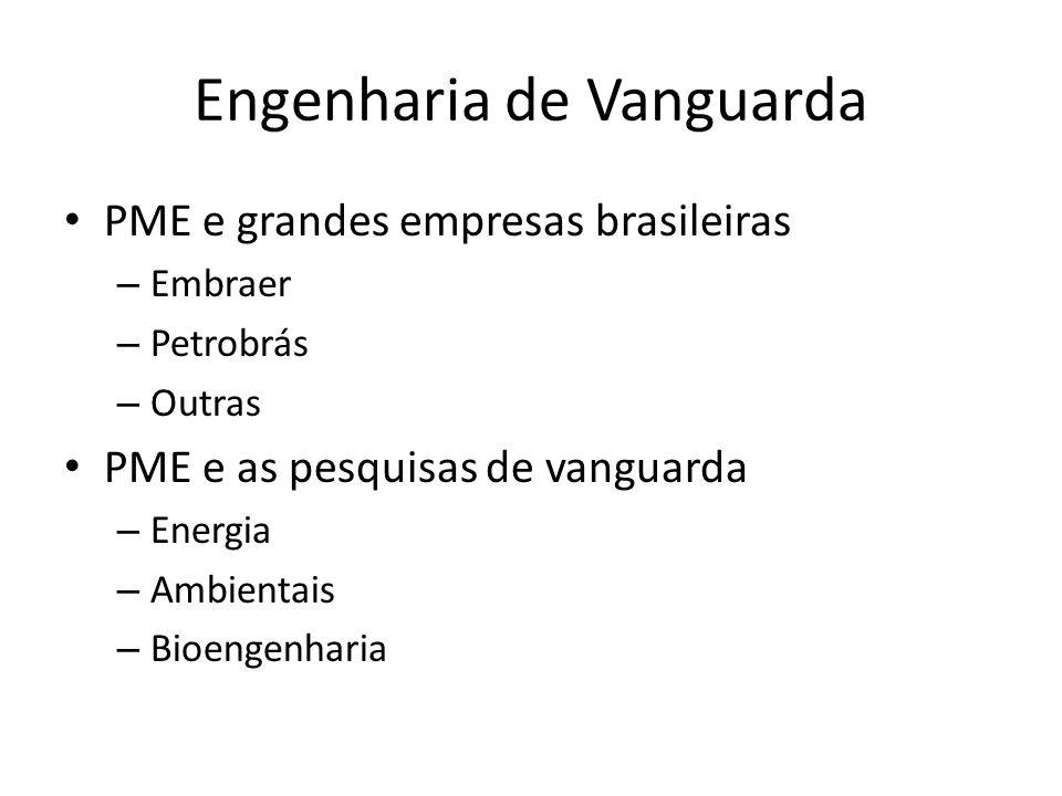 Engenharia de Vanguarda PME e grandes empresas brasileiras – Embraer – Petrobrás – Outras PME e as pesquisas de vanguarda – Energia – Ambientais – Bioengenharia