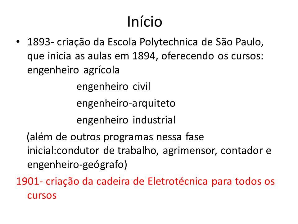 Início 1893- criação da Escola Polytechnica de São Paulo, que inicia as aulas em 1894, oferecendo os cursos: engenheiro agrícola engenheiro civil engenheiro-arquiteto engenheiro industrial (além de outros programas nessa fase inicial:condutor de trabalho, agrimensor, contador e engenheiro-geógrafo) 1901- criação da cadeira de Eletrotécnica para todos os cursos