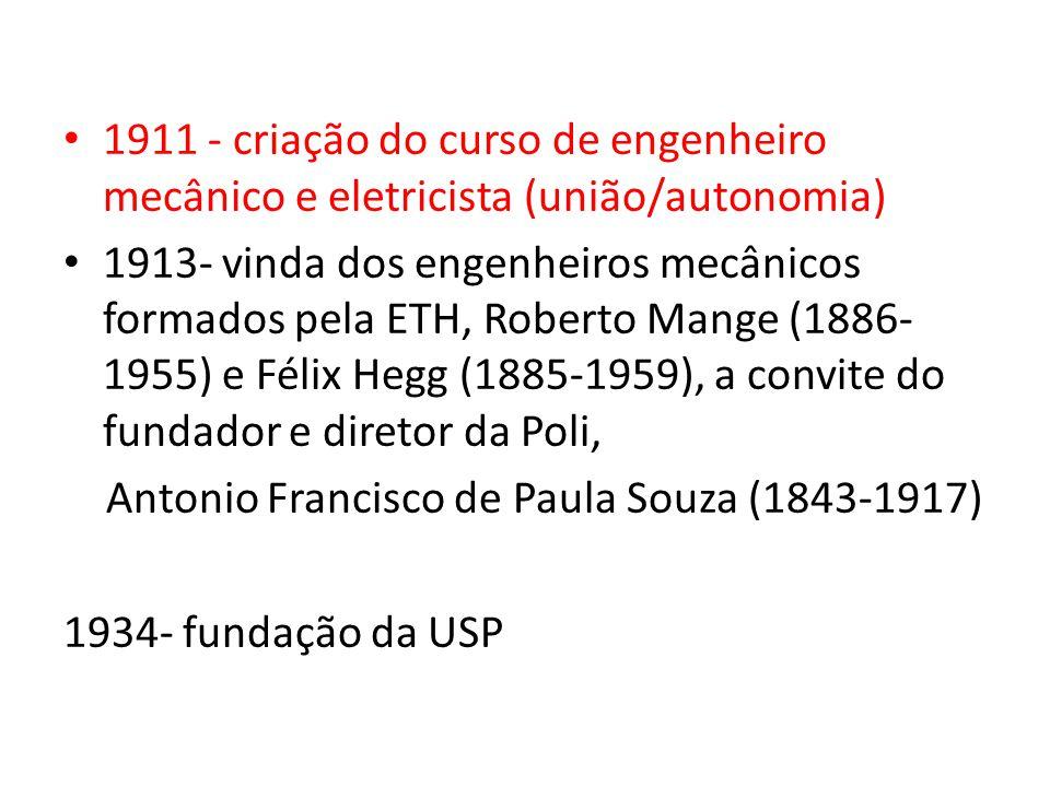 Primeiros Anos 1911 - criação do curso de engenheiro mecânico e eletricista (união/autonomia) 1913- vinda dos engenheiros mecânicos formados pela ETH, Roberto Mange (1886- 1955) e Félix Hegg (1885-1959), a convite do fundador e diretor da Poli, Antonio Francisco de Paula Souza (1843-1917) 1934- fundação da USP