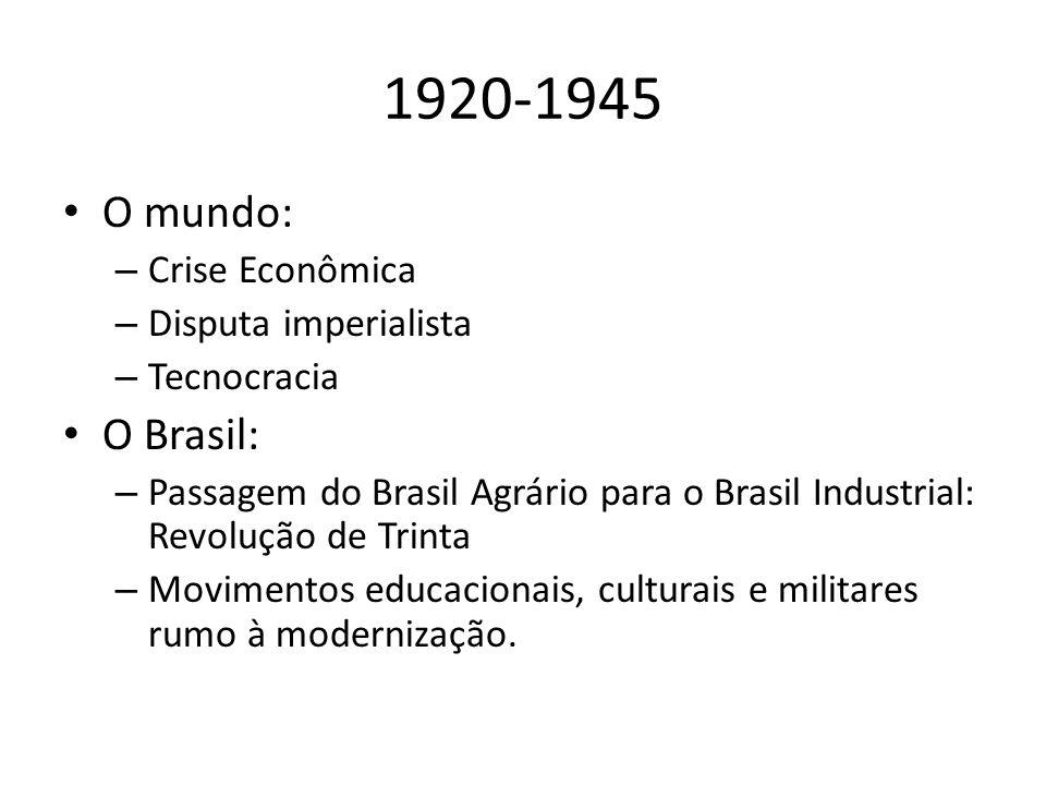1920-1945 O mundo: – Crise Econômica – Disputa imperialista – Tecnocracia O Brasil: – Passagem do Brasil Agrário para o Brasil Industrial: Revolução de Trinta – Movimentos educacionais, culturais e militares rumo à modernização.