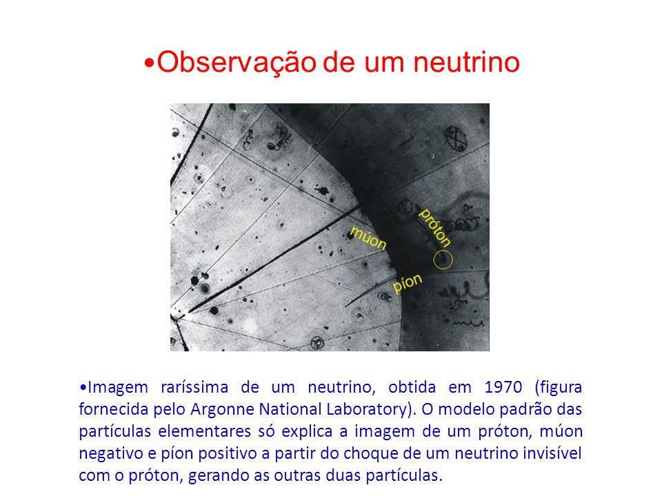 Observação de um neutrino Imagem raríssima de um neutrino, obtida em 1970 (figura fornecida pelo Argonne National Laboratory). O modelo padrão das par