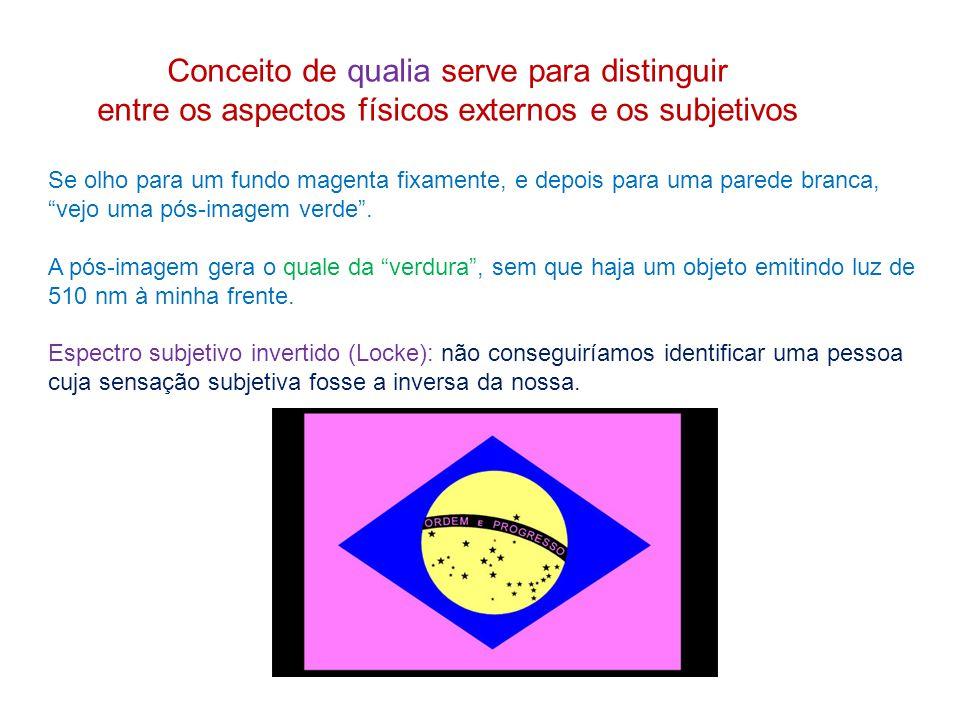 Conceito de qualia serve para distinguir entre os aspectos físicos externos e os subjetivos Se olho para um fundo magenta fixamente, e depois para uma