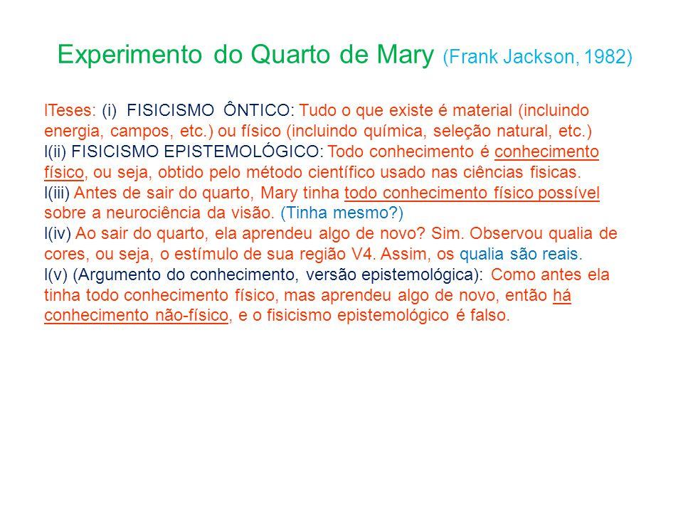 Experimento do Quarto de Mary (Frank Jackson, 1982) Teses: (i) FISICISMO ÔNTICO: Tudo o que existe é material (incluindo energia, campos, etc.) ou fís