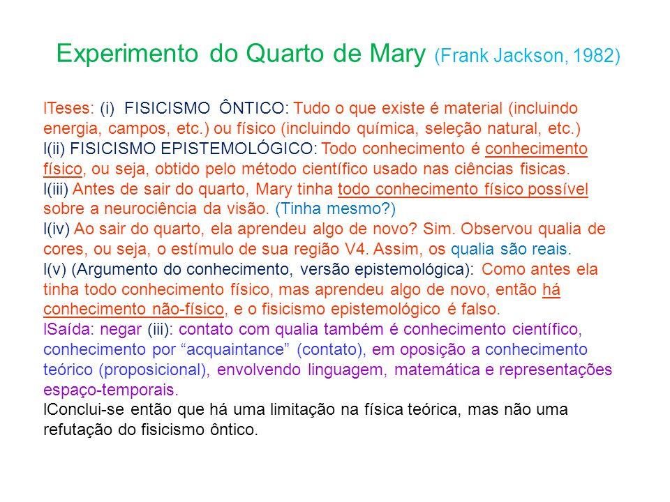 Experimento do Quarto de Mary (Frank Jackson, 1982) Teses: (i) FISICISMO ÔNTICO: Tudo o que existe é material (incluindo energia, campos, etc.) ou físico (incluindo química, seleção natural, etc.) (ii) FISICISMO EPISTEMOLÓGICO: Todo conhecimento é conhecimento físico, ou seja, obtido pelo método científico usado nas ciências fisicas.